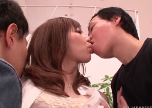 Dirty Japanese MILF possessions tag teamed by 2 energetic guys