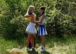 Smashing girls rate shellacking and toying their cunts outdoors thither a hot lesbians scene