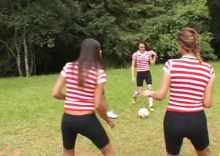 Soccer team of sexy t-girls gangbang one lucky suppliant outdoors