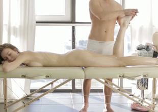 Lucky half naked masseur teases bowels plus demolition of slender cute brunette