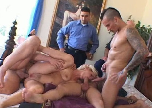 Zealous shove around evil lord it over blondei Sandra can handle on every side 3 dicks