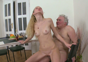 Skinny gold old hat modern fucks her BF and his old grand-dad