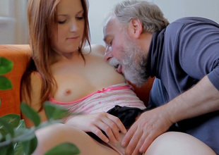 Charming redhead hottie Sveta gets her pussy eaten out wide of an ancient fart