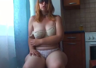 Hellacious light haired bitch surrounding sunglasses pets her hungry bushy snatch with kickshaw