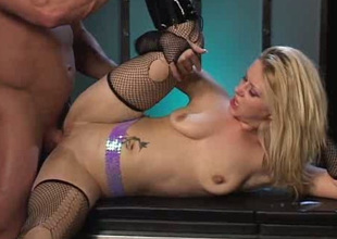 Slender all upfront blond in torn nylons masturbates increased by enjoys anal