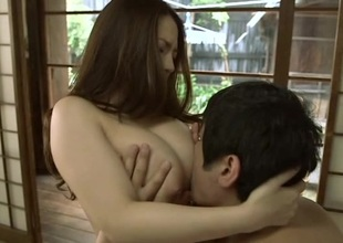Japanese brunette gets their way liberal milk shakes fondled then screwed from behind