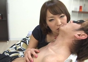 Seductive Japanese girl with unartificial tits in bra kissing will not hear of babes lovely
