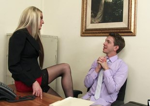 Secretary whore in say no to stockings fucks a large unearth coworker