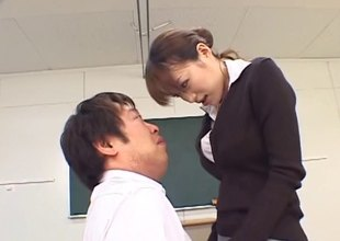 Japanese teacher is polluted as that babe fucks in class