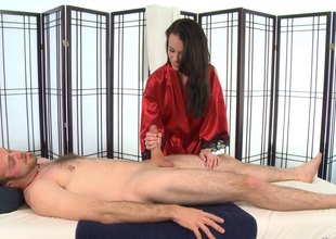 Unlit hair masseuse with undevious titties gives a super sexy blowjob
