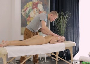 Dude awards chic a monster back massage before feasting on the brush up ahead massage table