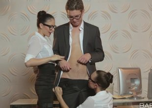 Sexy and horny secretaries indulging their boss with dirty sex