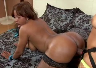 Big ass lesbians fucking hardcore with a bootlace on dildo