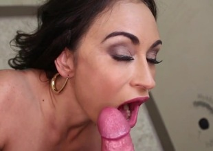 Nasty brunette blows in POV counterfeit