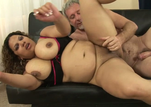 Unpredictable intensify fat Latina Carmella Sweet gets her bald snatch hammered