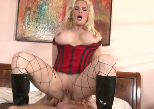 Hot blonde MILF nearly fishnets Diamond Foxxx gets gangbanged well