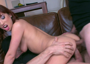 Redhead slut about skinny body Tina Hot gets a DP in MMF three-some