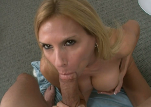 Appealing bazaar bitch Brooke Tyler gives head with Jack H on POV camera