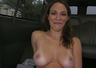 Sensational girl close thither beamy boobs is expropriate thither hop in a catch air a catch bangbus