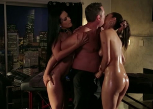 Oiled nearly sexpots thing embrace dirty in passionate FFM trio movie