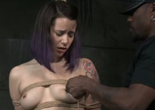Adventurousness porn floozy Freya French is brutally toy fucked in BDSM porn clip