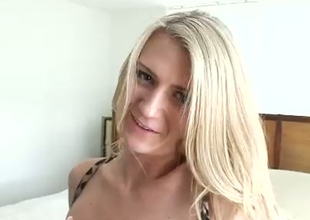 Excited blondie rub-down her substantial natural titties almost a motor