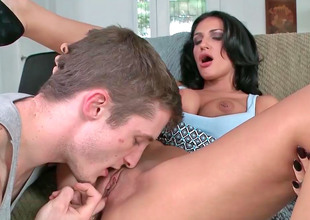 Dark haired milf took off her clothes and got screwed
