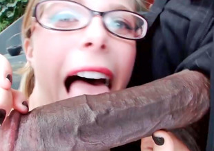 Nerdy blond ever after wanted to engulf a big, darksome dick