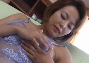 Rio Kurusu puts vibrator exceeding say no to hairy chink under lace