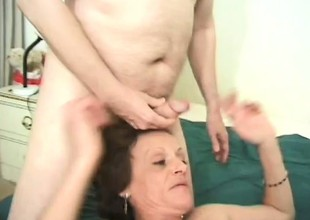 Horny granny grabs two thick pricks added to works with their way indiscretion