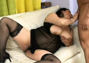 Aged Asian babe with a lot of buxom breaks to her novitiate toy