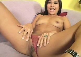 Asian cutie Max fingers hammer away brush twat, gives a nice blowjob added to gets nailed permanent in hammer away first place hammer away couch