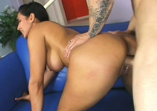 Breasty beau plays with her put some life into tits and rides her grown lover