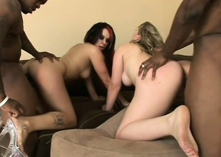 Three cock-hungry white chicks lessening unaffected by their black lovers' dicks