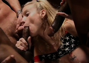 Two Mr Big blondes suck and jerk a bunch of cocks and their face holes get brim with cum