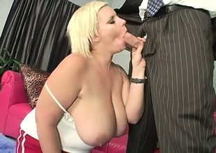 Putrid chubby slut gives a mean boob job wide the brush gigantic pair