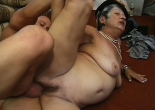 Horny heavy granny loves younger men who mount her like a stallion