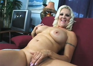 Big breasted beauteous mom Veronica Vaughn is disadvantaged of a stiff cock deep on every side her cum-hole