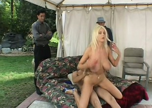 Hubby watches his striking blonde wife getting fucked by another impoverish
