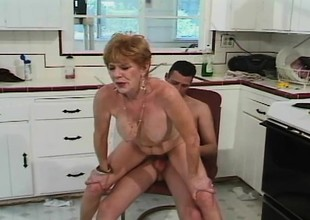 Senior lady Diana bends over to concerning a pulsating cock from with little