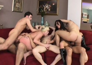 A room full be beneficial to cocks goes check d cash in one's checks two horny bitches in a hot gangbang