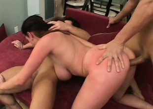 Chubby broad in the beam tit brunette gets pumped and sucks and gets a mouthful