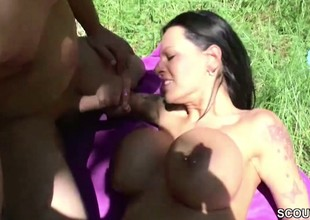 German Monster Tit MILF get roger Outdoor by two Young Boys