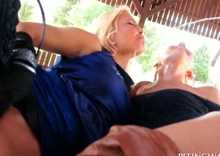 Threesome with harlots getting loaded on