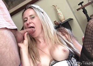 Maid Tinkerbell inserts fancy borehole toys and has cum in brashness