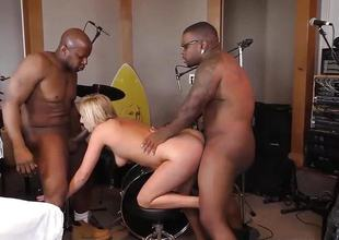 Kate England does 3some with 2 malignant cocks