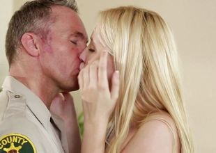 Blonde pulchritude Samantha Rone pounded doggystyle