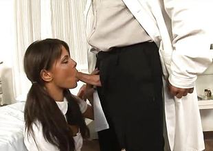 Sexy brunette babe sucks rub-down the doctors constant dick