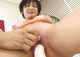 Asian breasty slut tries out hammer away sextoy