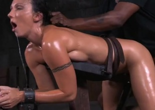 Tight body coated in oil screwed in BDSM porn